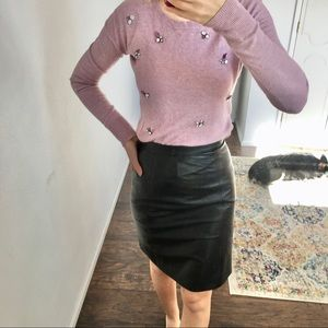 DejaVu vintage - black leather pencil skirt